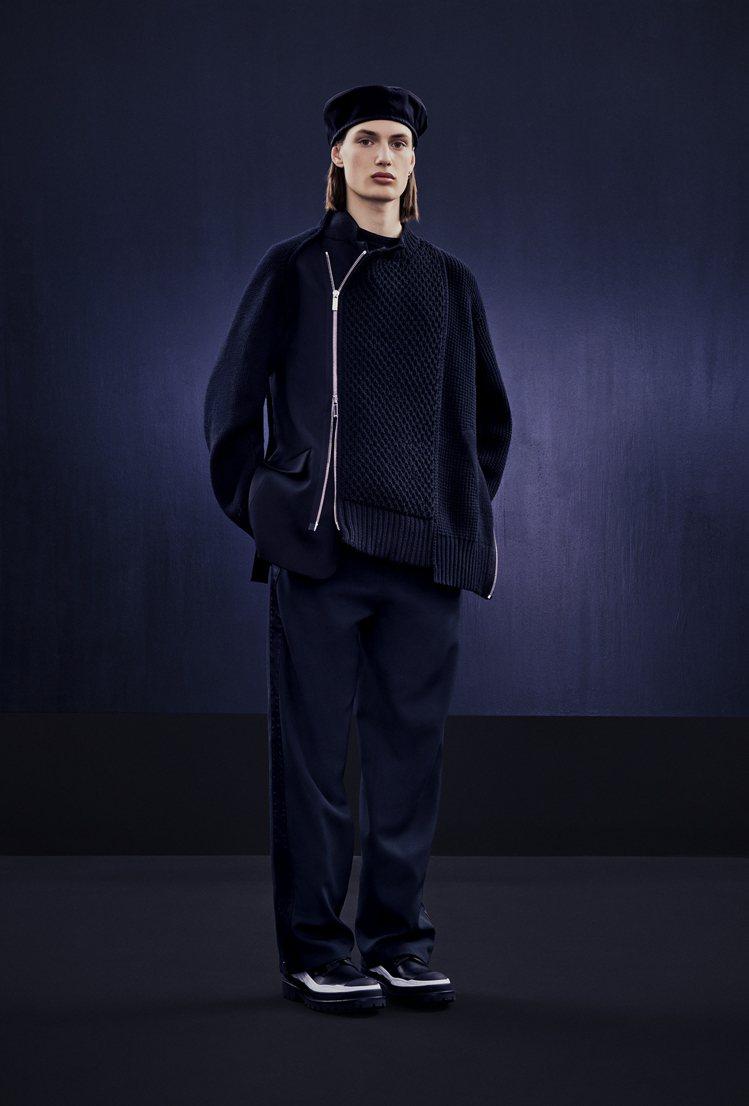 延續sacai擅長的潮流混搭機能服裝,以標誌性尼龍抽繩、多口袋、拉鍊為主。圖/D...