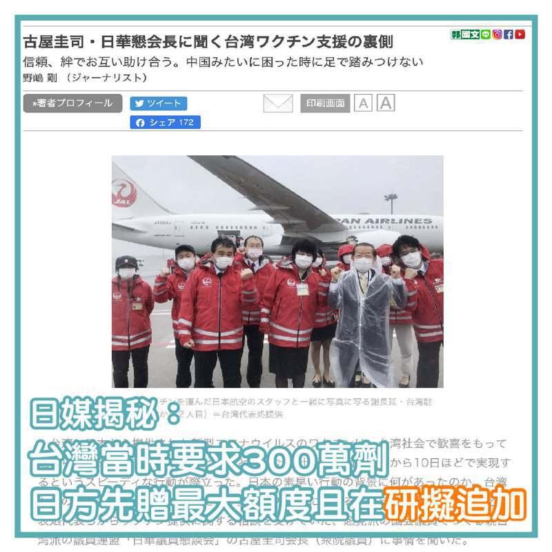 民進黨立委郭國文今在臉書表示,據日華議員墾談會會長古屋圭司在專訪中的說法,台灣當初是提出300萬劑的需求。圖/取自郭國文臉書