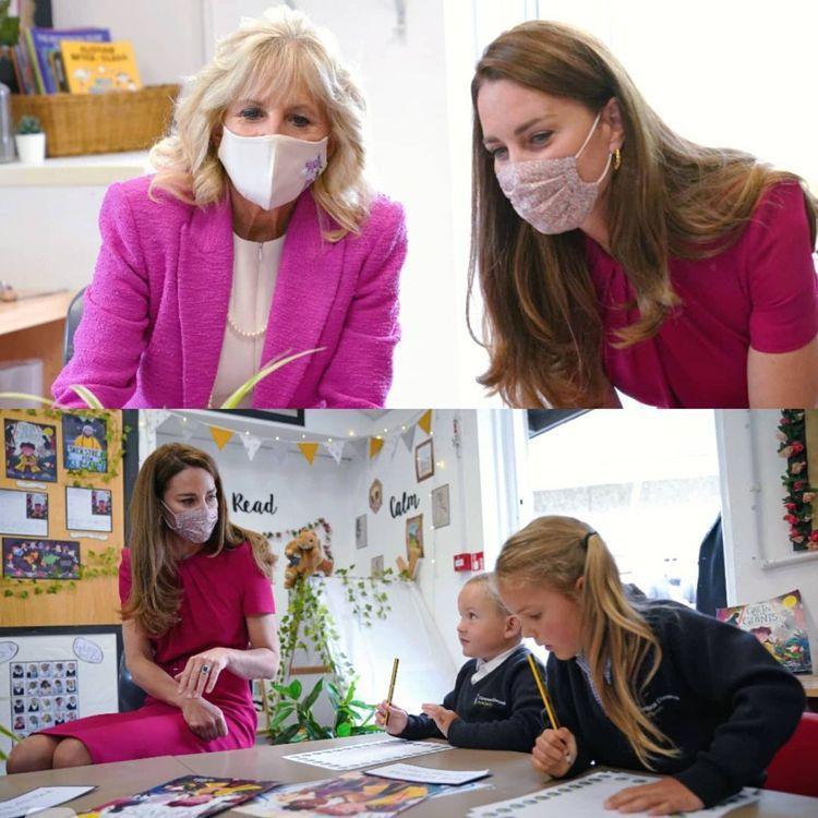 凱特王子妃日前與美國第一夫人吉兒拜登在英國康瓦爾小學參觀。圖/取自IG