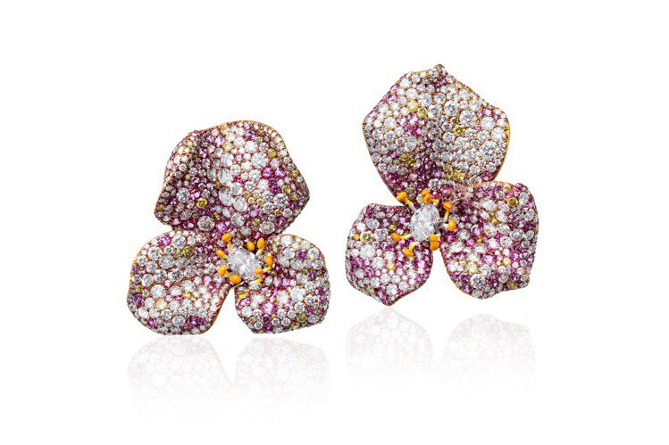 CINDY CHAO White Label高級珠寶玫瑰系列玫瑰耳環,18K白金...