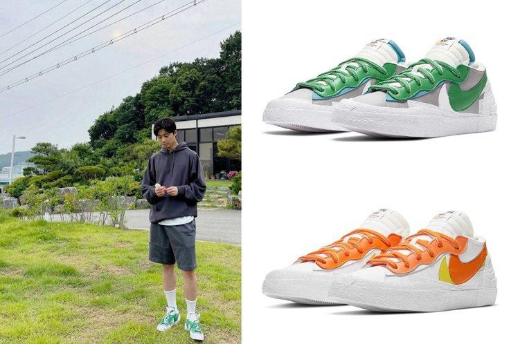 男神朴敘俊搶先上腳Nike與Sacai聯名Blazer Low潮鞋。圖/摘自in...