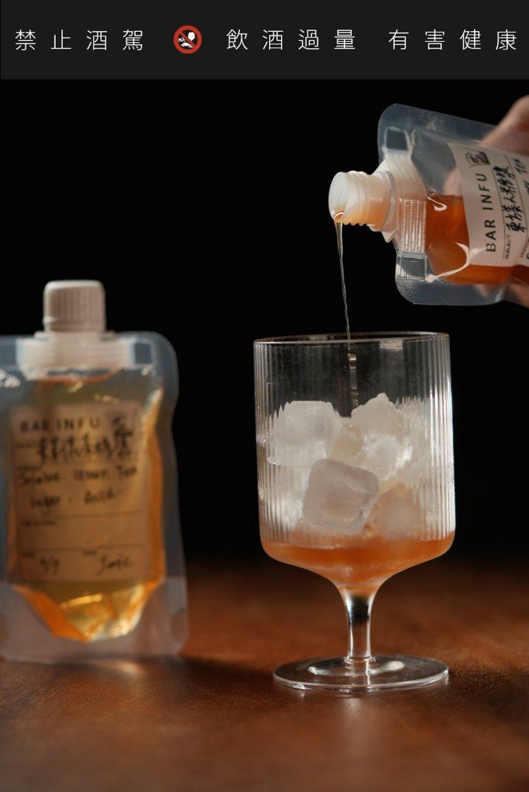 茶香風味糖漿亦可加入氣泡水及冰塊調和,享受沁涼無酒精茶香調飲。圖/BAR INF...