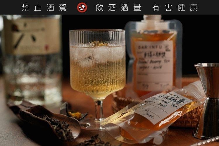 茶香風味糖漿自行加入琴酒或伏特加等基酒及冰塊調和,即可輕鬆完成自製調酒。圖/BA...