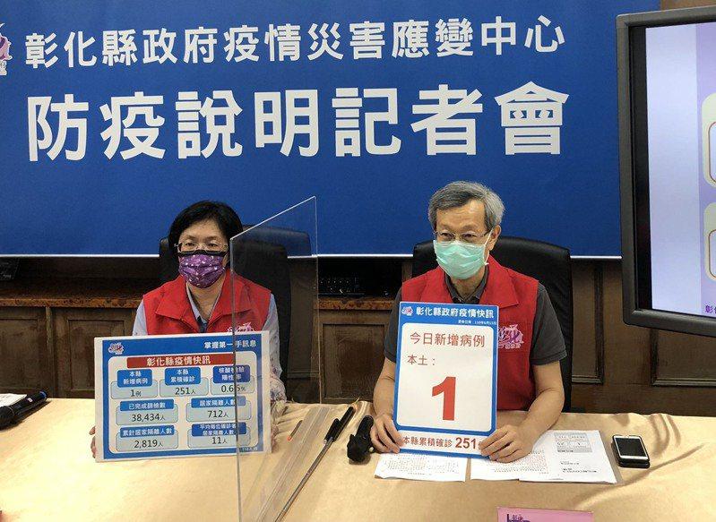 彰化今天新增1新冠肺炎個案,縣府召開防疫說明記者會。記者林敬家/攝影