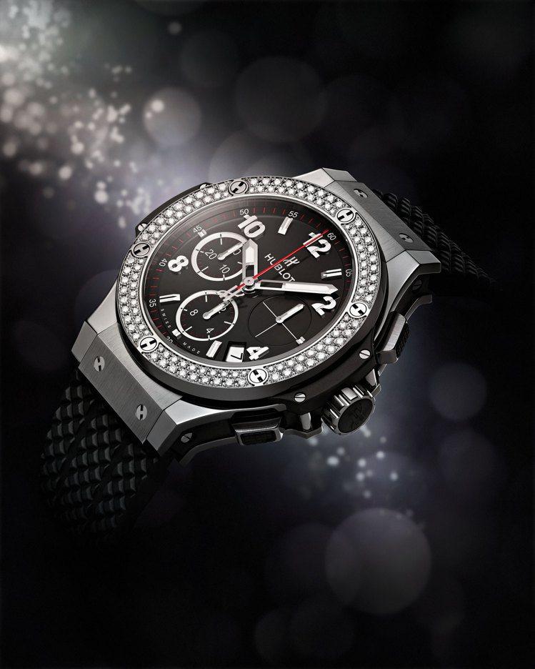 HUBLOT Big Bang系列44毫米精鋼鑽表,63萬元。圖/宇舶表提供