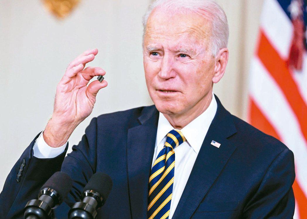 美國總統拜登下令進行的美國供應鏈評估報告,提到台灣超過80次。圖為拜登今年2月手...