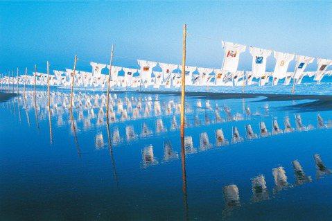 成千上百件T恤在黑潮町綿延4公里的沙灘上隨風飄揚。 圖/行人出版社提供