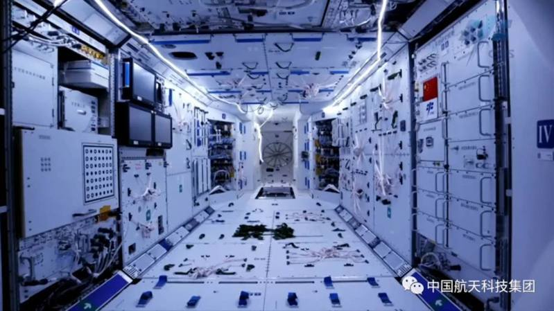 中國太空站天和核心艙內部。 圖/微博