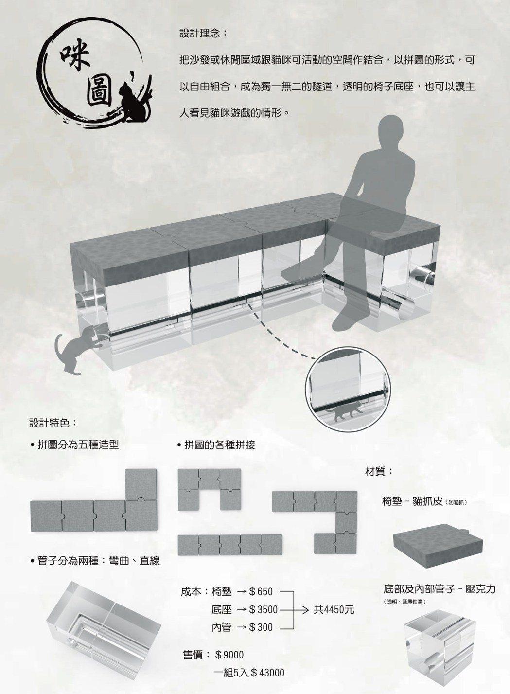 黃晴湄與游馨婷作品「咪圖」是透明拼圖沙發,讓家中成員可與毛小孩一同輕鬆互動。龍華...