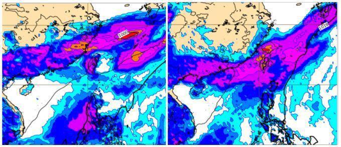 歐洲模式模擬下周二20時地面氣壓及雨量圖顯示,典型梅雨滯留鋒重返台灣附近(左圖)...