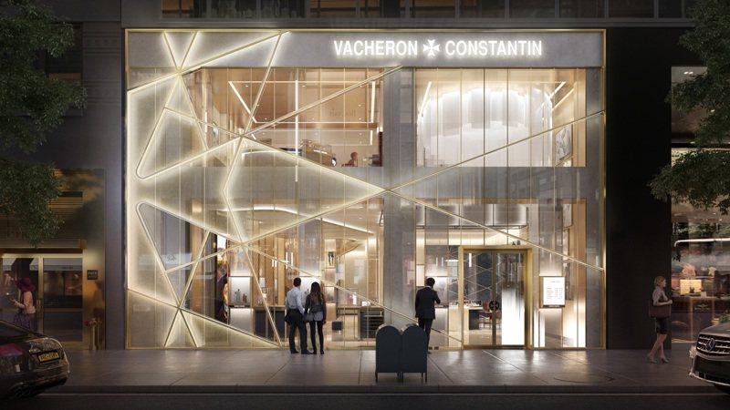 位於麥迪森大道與公園大道間的江詩丹頓紐約旗艦店,以黃銅金屬線條與玻璃櫥窗,勾勒出品牌經典的馬爾他十字造型。圖 / 江詩丹頓提供。
