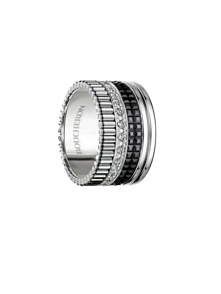 Boucheron Quatre Black系列寬版指環,白金、黑色PVD、鑽石...