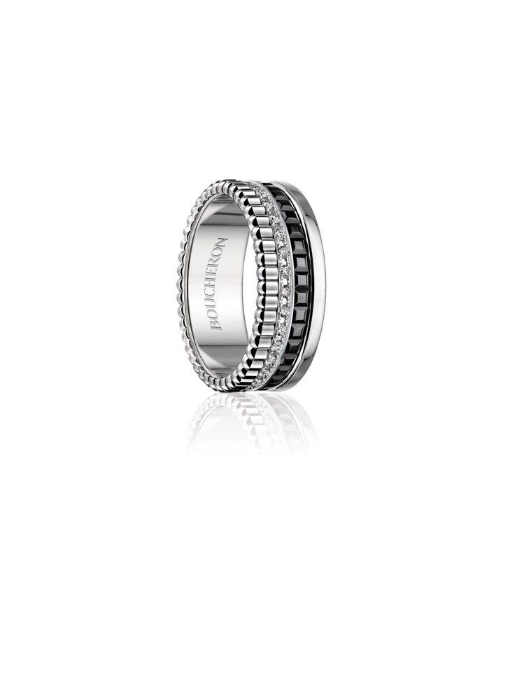 Boucheron Quatre Black系列窄版指環,白金750、黑色PVD...