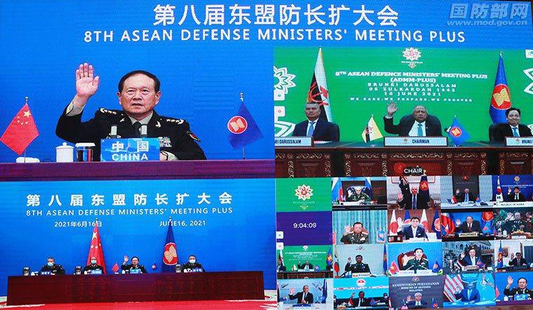 6月16日,第八屆東協防長擴大會視訊會議舉行,大陸國務委員兼國防部長魏鳳和出席會...
