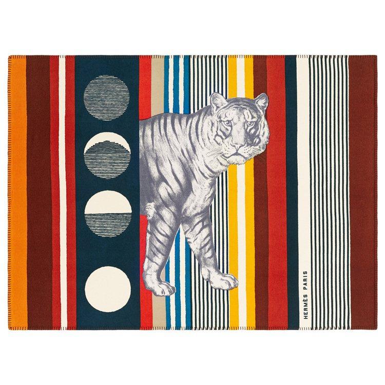 Tigre Bayadère 系列披毯(卡薩克紅)。圖/愛馬仕提供