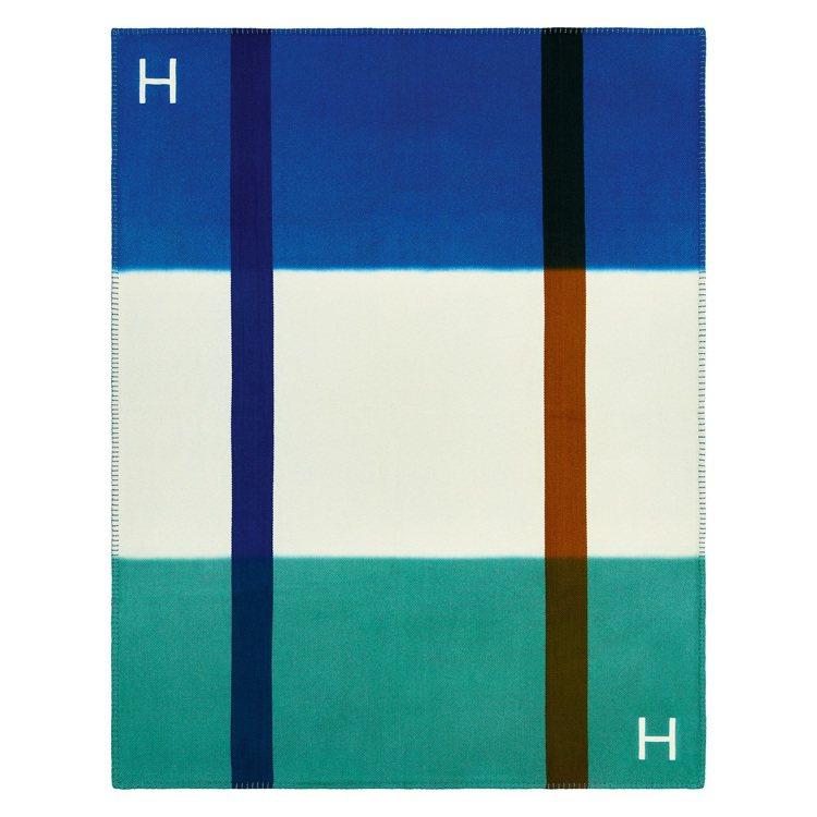 H Dye 系列披毯(鈷藍與碧玉綠)。圖/愛馬仕提供