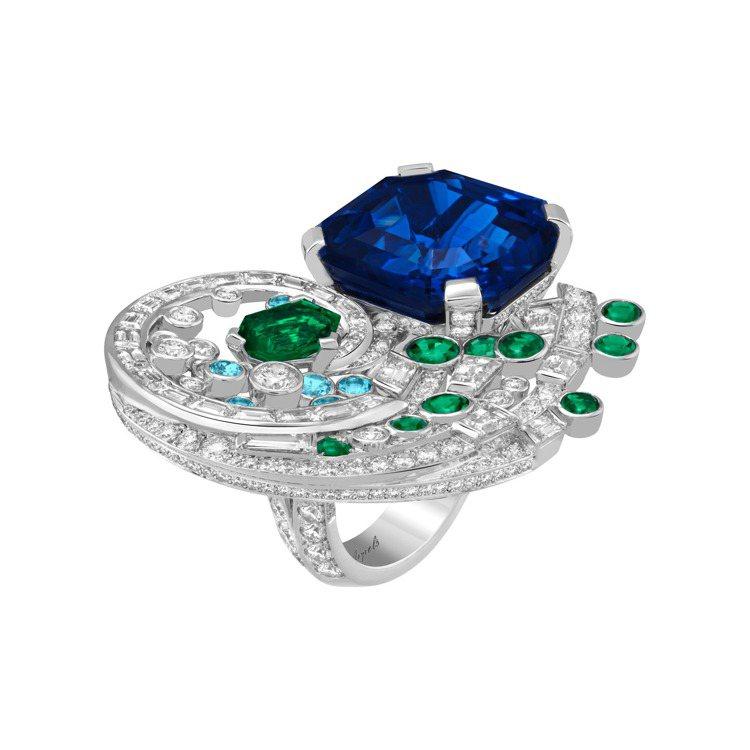 Iwamoto戒指,白K金鑲嵌一顆26.41克拉八角形切割斯里蘭卡藍寶石、一顆1...