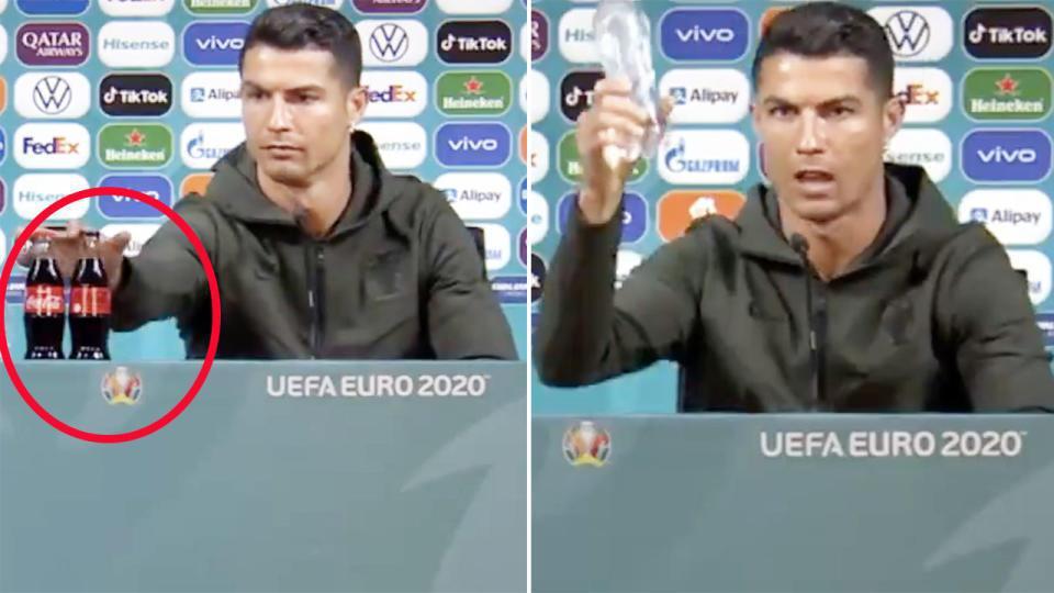 葡萄牙隊陣中明星球員羅納度將記者會上的可樂移出鏡頭外,隨後拿起一瓶水,示意喝水更...