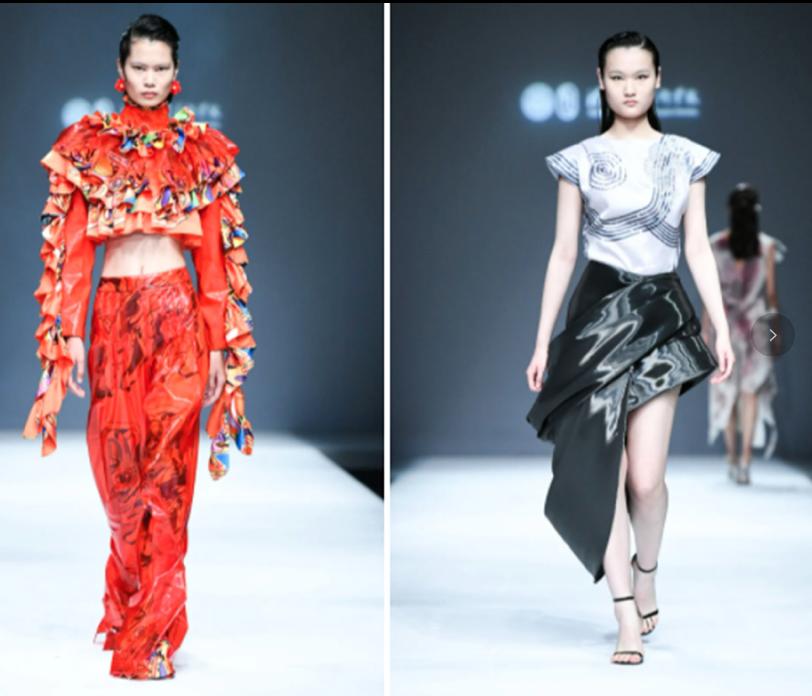 北京清華大學美院2021服裝展,大陸網友批評模特兒「刻意拉長了眼型,契合了西方對...