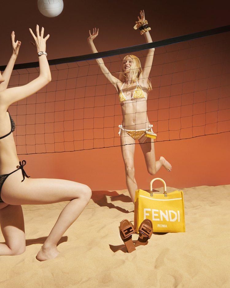 黃色萊卡面料比基尼18,900元、中型黃色FENDI Sunshine棉質鉤針編...