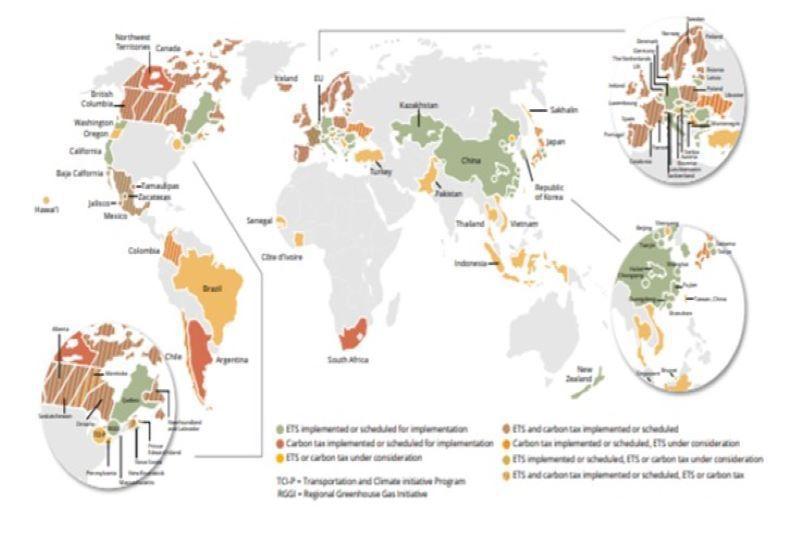 截至2021年4月為止全球共有64項碳定價機制 圖/World Bank Gro...