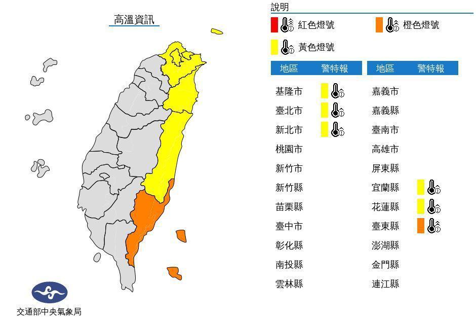 中央氣象局發布高溫資訊,西南風沉降影響,今天中午前後台東縣地區為橙色燈號,有連續...