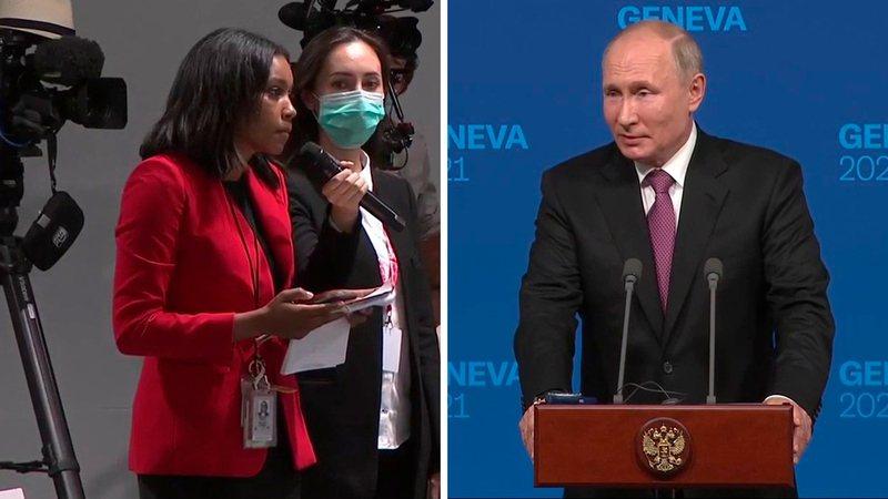 俄羅斯總統普亭16日結束與美國總統拜登的會晤後,單獨出席記者會時意外遭美國廣播公...