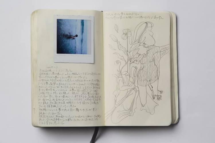 黑河內真子在創作時的手稿。圖/摘自長野県立美術館官方臉書
