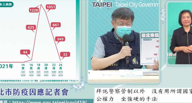 台北市長柯文哲今天宣布台北市清零計畫防疫新戰略,第一,避免家戶感染、切斷傳播鏈,...