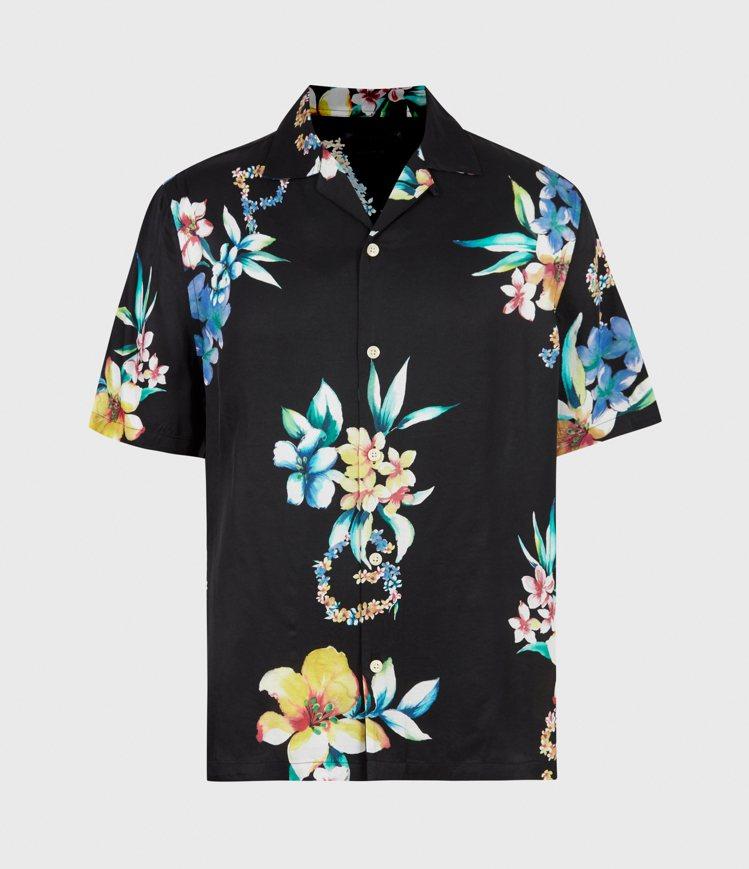 AllSaints Hana黑底印花短袖襯衫5,000元。圖/AllSaints...