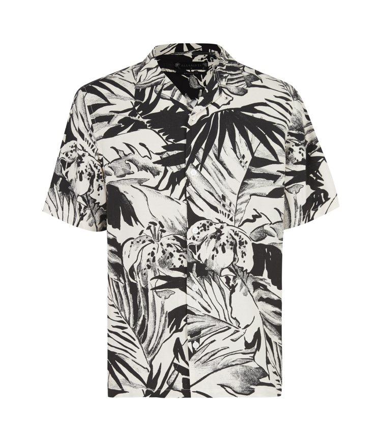 AllSaints Lanai黑白印花短袖襯衫5,000元。圖/AllSaint...