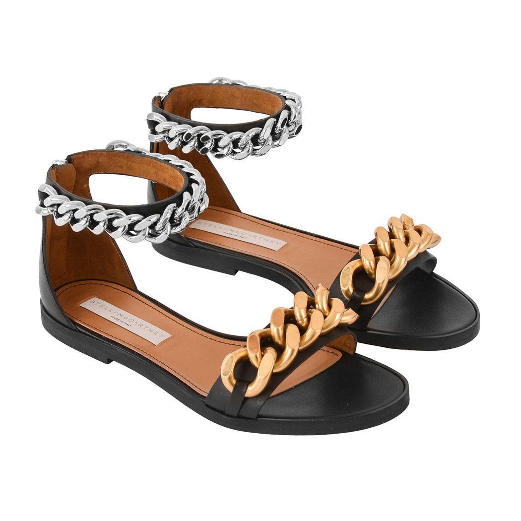 微風獨家販售STELLA McCARTNEY Falabella雙色經典鍊帶涼鞋...