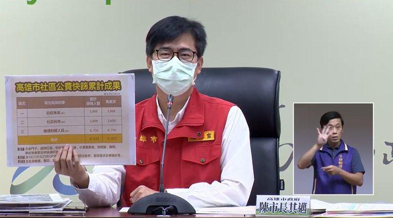 市長陳其邁指示衛生局立刻通報是否屬於嚴重不良反應的具體個案,請中央就個案進行審議。記者徐白櫻/翻攝