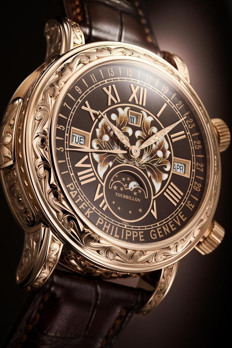 編號6002R-001日月陀飛輪高級工藝腕表,人手精雕玫瑰金表殼配咖啡色大明火鑲...