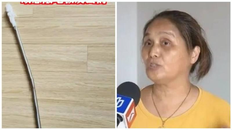 涉事單位16樓的住客張婆婆坦然承認了自己深夜敲擊地板的行為,更出示了她敲擊地板用的鐵棒。 圖/香港01