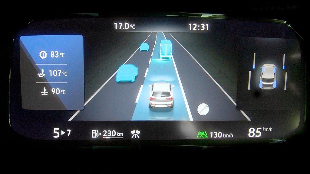 福斯Golf 8 GTI搭載Level 2等級IQ.DRIVE智能駕駛輔助系統,...
