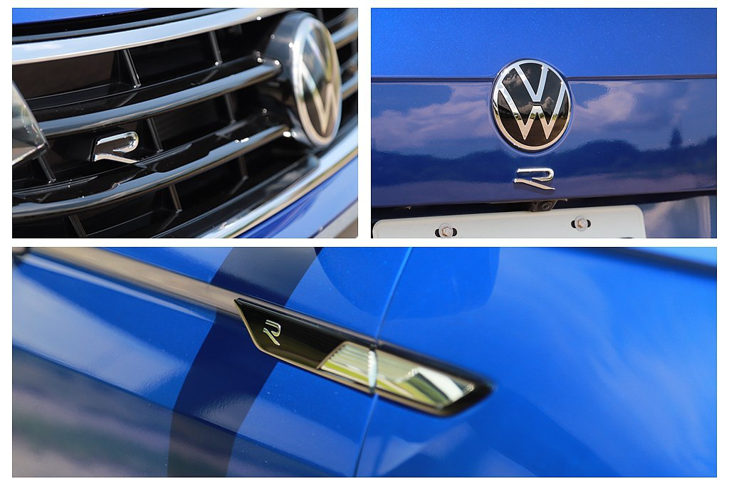 福斯Tiguan R的車頭、車側以及車尾正中央,皆有顯目的專屬「R」標誌。 記者...