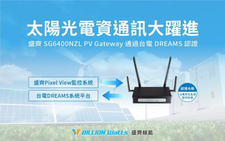 盛齊綠能PV Gateway通過台電DREAMS監控設備認證。