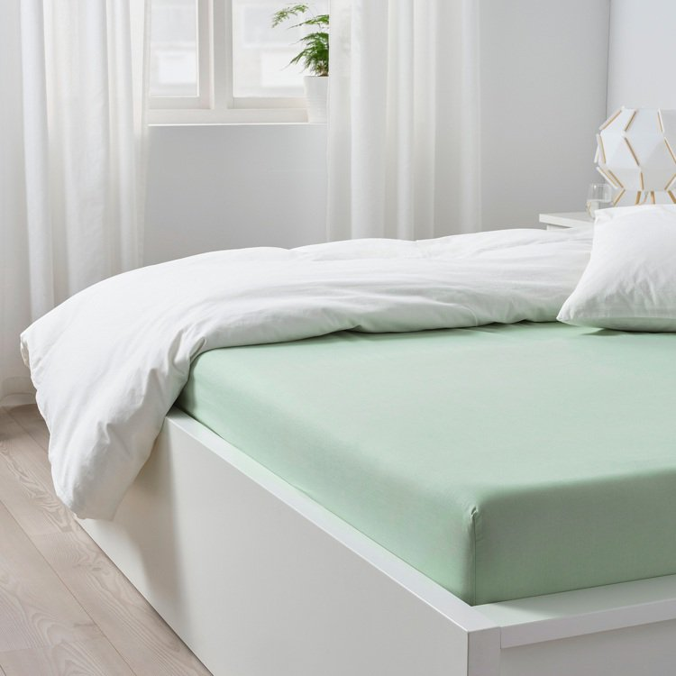 IKEA DVALA雙人床包(淺綠色)原價299元,指定折扣價209元。圖/IK...