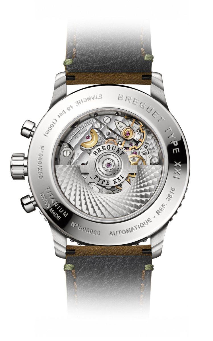 584Q/A型自動上鍊計時機芯具備飛返計時功能、獨立編號與矽材質的擺輪游絲。圖 ...