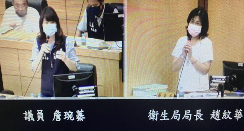 議員詹琬蓁(左)砲轟衛生局長趙紋華 (右)。記者魯永明/翻攝