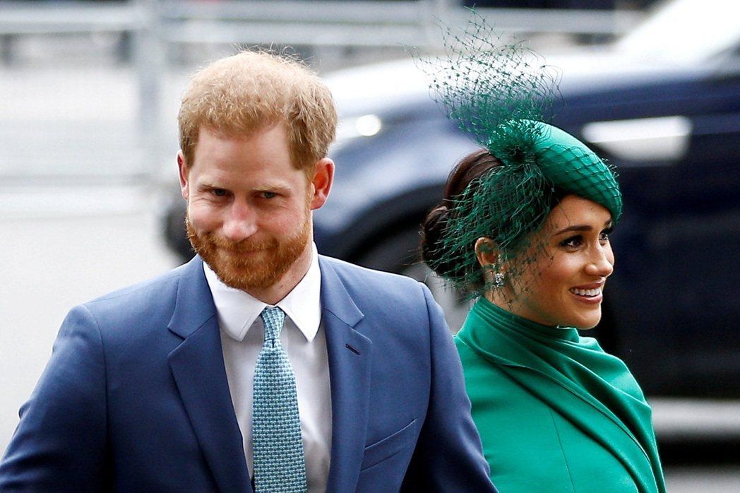 英國哈利王子與妻子梅根,攝於2020年3月。太陽報報導,哈利與梅根和Spotif...