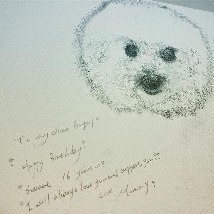 賈靜雯親手畫素描為梧桐妹慶生。 圖/擷自賈靜雯IG