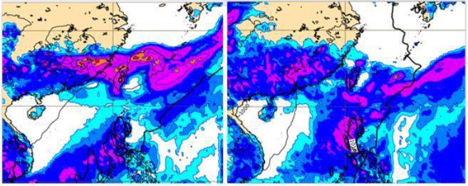 歐洲模式,模擬地面氣壓及降雨量圖顯示,下周二(左圖)及周五(右圖)20時典型梅雨...