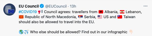 歐盟公布旅遊安全清單,台灣也名列其中。截自推特