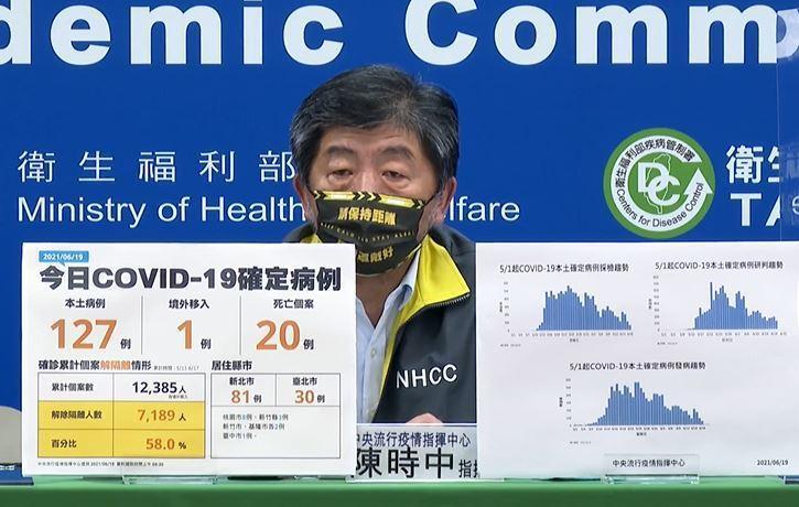 指揮官陳時中表示,6月18日已有施打完兩劑疫苗的人數已達2.7萬劑,未來還會有4月12日至5月9日打過一劑的民眾,約有6.7萬人接種第二劑。圖/取自直播畫面