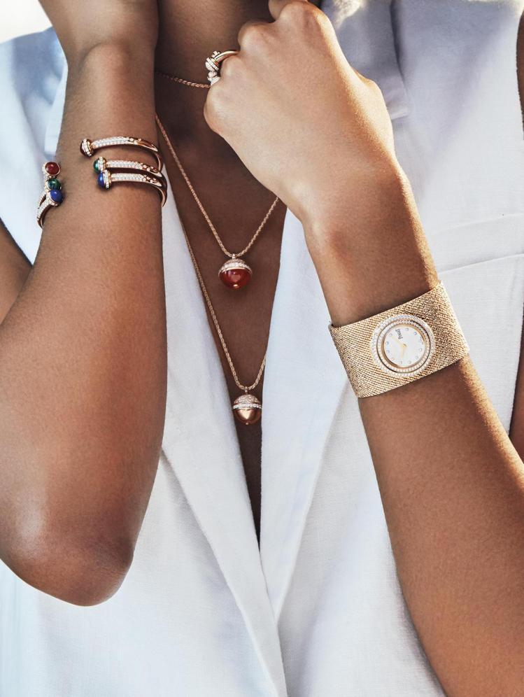 佩戴在手腕上的手鐲珠寶表,讓珠寶的閃耀與時計的功能二合為一。圖 / PIAGET...