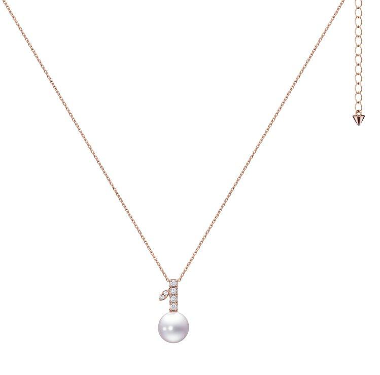 TASAKI kugel鑽石珍珠櫻花金項鍊,73,000元。