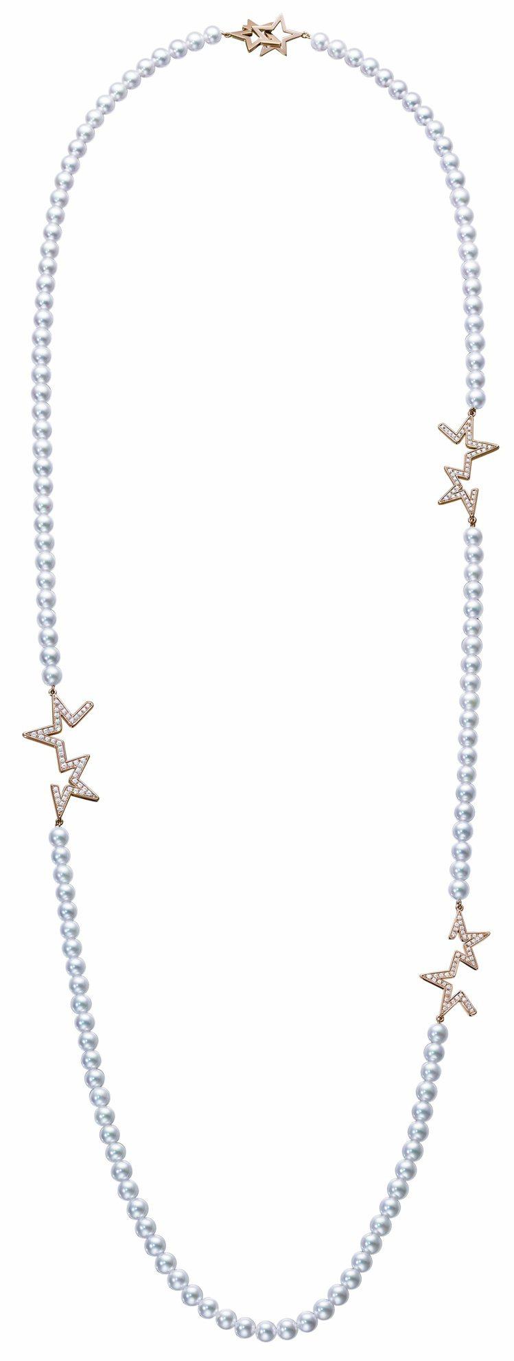 TASAKI abstract star鑽石珍珠櫻花金項鍊,74萬6,000元。