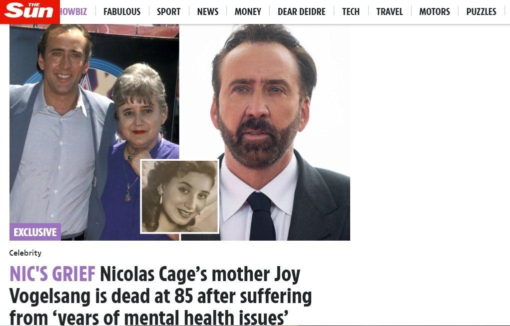 英國媒體報導尼可拉斯凱吉的母親已去世。圖/摘自The Sun